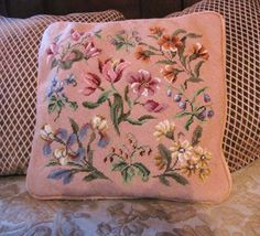 Vintage soft pink Floral Needlepoint pillow - Ruby Lane