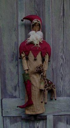 Primitive CIRCUS SANTA and his GIRAFFE Holiday Christmas Doll Pattern LAST RUN