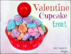 Conversation Heart Cupcakes at Uncommen Designs! cute Valentine idea!