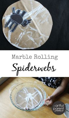 Use the classic kid art activity of marble rolling to make Halloween spiderwebs -- a great Halloween art activity for kids that doubles as a holiday decoration.