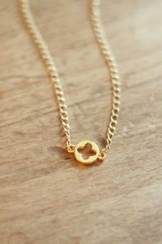 Matte Gold Quatrefoil Necklace, Simple Everyday by ShopNestled
