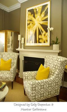 more gray and yellow..finally decided to paint the walls a nice gray in my room with my favorite yellow couch. great color combo!