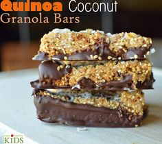 Quinoa Coconut Granola Bars: 1cup quinoa, 1 cup oats, 1/2 cups coconut, 1 cup nuts and dried fruit, 1/4 tsp salt, 1/2 cup peanut butter,  3/4 cup honey, 1 TBL canola oil, 3 TBL Brown Sugar, 1 cup semi-sweet chocolate chips, 1 TBL oil