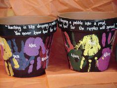 By Jess Weber. Student hand-prints on large flower pots.  Makes a wonderful teacher appreciation gift!