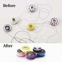 Keep bobbins in line with small scrunchies - great idea =why didn't I think if it?