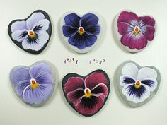 Pansies painted rocks by Yvette
