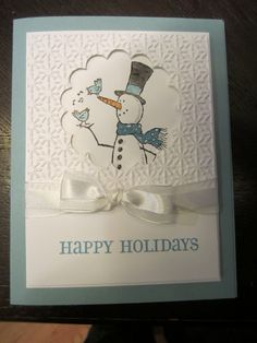 """snowman stampin up card   ... cards above all use the """"Snow Much Fun"""" stamp set from Stampin' Up"""