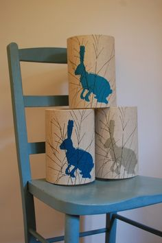 lovely little lampshades with blue hares by Helen Minns