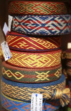 Various tablet-woven bands based on historical patterns