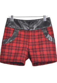 Red Mid Waist Contrast Leather Plaid Shorts