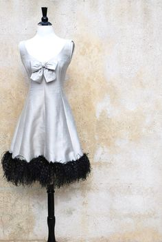 Vintage 1960s Helga Couture cocktail dress with marabou feathers