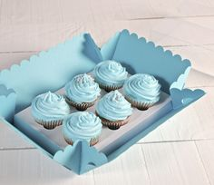Don't feel blue! We have cupcake boxes for 6 cakes!! Shop Now:http://selfpackaging.com/3006-box-for-6-cupcakes-1056.html?size=1 // #cupcakes #baking #cakes #homemade #yummy