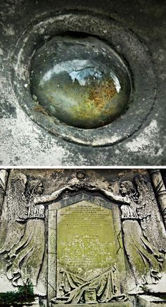 Ducrow mausoleum window ~ They can never have let in much light, & with age these disturbingly eye-like globes have become dingy & milky with cataracts of dirt, dust & spider's webs. #mausoleum  #cemetery #Kensal_Green