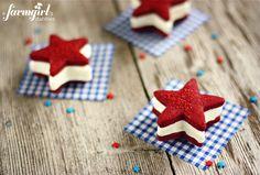 Patriotic ice cream sandwiches with red velvet shortbread stars and cream cheese ice cream