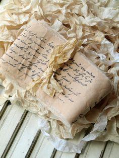 A generous yard of script stamped muslin.    Price:$4.50