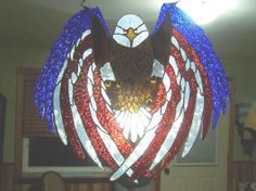 Red White And Blue Eagle - by Wisconsinglass