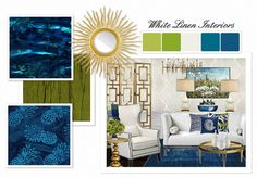 [Z Gallerie inspired] Ocean Blue   Green Living Room by whitelineninteriors | Olioboard