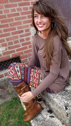 boot, hair colors, patterns, style, printed leggings, fall outfits, jean skirts, tight, bang
