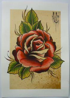 rose, tattoo flash, coffee, killer tattoo, white