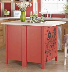 kitchen island made from set of dressers, clever!