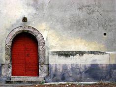red door. great contrast.