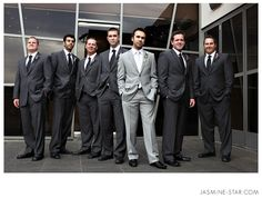LOVE these suits!!! And the idea of having the groom in a lighter one than everyone else....