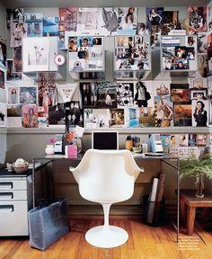 Teen work room design with tulip chair.