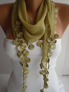Lime Shawl / Scarf  Headband  Cowl with Lace Edge Summer by DIDUCI, $14.50