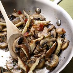 GARLIC-ROSEMARY MUSHROOMS~These simple sautéed mushrooms work as a quick, weeknight side dish. To turn them into a main course, toss with cooked pasta and a generous handful of Parmesan cheese or fold into an omelet with Gruyère, fontina or Swiss cheese. white wines, mushroom recipes, healthy side dishes, food, bacon, side dish recipes, pastas, garlicrosemari mushroom, mushrooms