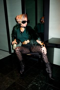 Lady Gaga posing in her room at the Park Hyatt Tokyo.