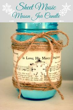 DIY Sheet Music Mason Jar Candle