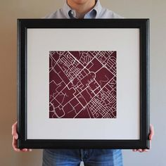 We think this maroon and white map of Texas A&M would look good on any wall...