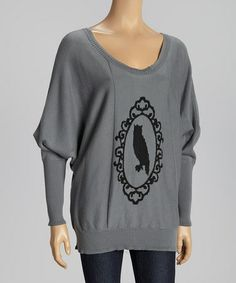 Take a look at this Gray Cameo Creature Dolman Top by Knitted Dove on #zulily today! LOVE!!