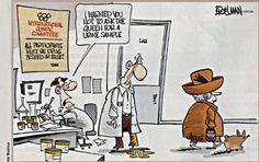 Peter Broelman. Urine sample [OpiMed] - Opinions médicales / UK medical cartoons.