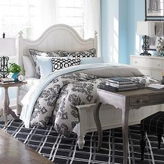 Arched Panel Bed, Basset and console and bedside