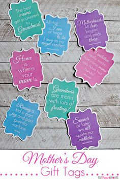 Mother's Day Gift Tags: Free Printables ~ featuring mom quotes that range from sentimental to humorous   FiveHeartHome.com