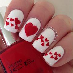 VALENTINE by b_jessica_3 #nail #nails #nailart heart nails, red, valentine day, san valentin, nail arts, valentine nails, valentin nail, uña, toe nail hearts