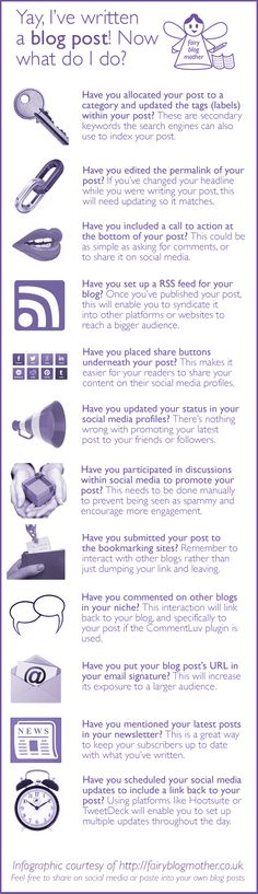 Here's an infographic to answer that age-old question of how to find readers for your blog posts, with more explanation below it: Is your post complete? It's important to make sure you've fille…