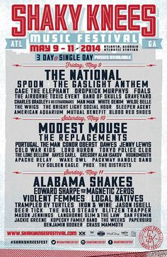 Shaky Knees Music Festival 2014 Lineup by day and single day tickets!   May 9-11   Atlanta, Georgia