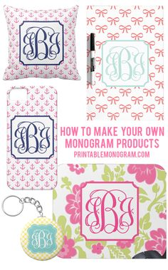 Create Your Own Monogram Products with monograms from printablemonogram.com - full DIY with step-by-step tutorial #monogram