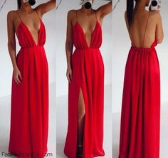 Perfect red maxi dress with plunging neckline and open back