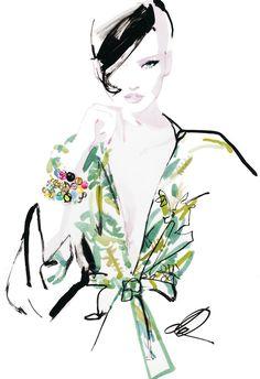 Fashion illustration by David Downton. #watercolor #digital #fashion #illustration #art #blouse #floral #trench