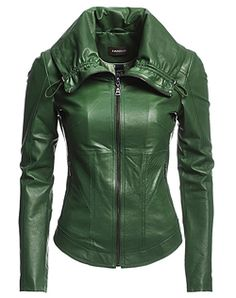 Home В» Womens Military Green Jacket with Leather Sleeves