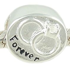 """$18.95 This lovely solid .925 sterling silver intertwined Wedding Rings charm is a perfect gift for the new bride or for an anniversary! It's also inscribed with the word """"Forever."""" The large hole allows this bead to slide easily onto your bracelet. This bead is unthreaded, stamped .925 and is compatible with major brand sterling silver 3mm Cable European Charm Bracelets. Total weight for this charm is 1.8 grams."""
