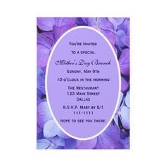 Pretty Mother's Day invitations - hydraangeas.