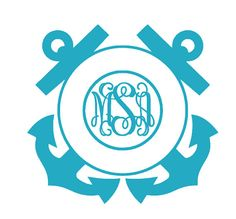 anchors, coasti wife, monogram vinyl, coasti life, vinyl car, anchor monogram, car decals, monograms, cameo