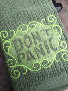 Embossed Don't Panic Hitchikers Guide to the by nicklepicklequilts, $9.99
