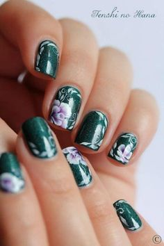 Pinned by www.SimpleNailArtTips.com ONE STROKE NAIL ART DESIGN IDEAS - Violet roses on forest green