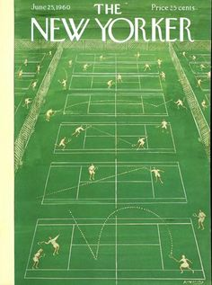 jun 25, the new yorker, yorker cover, vintage prints, june 25, sport, magazin, tennis court, 1960