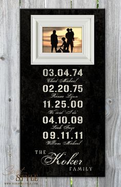 Personalized Special Dates Picture Frame with Family Name - a great way to showcase every family member!